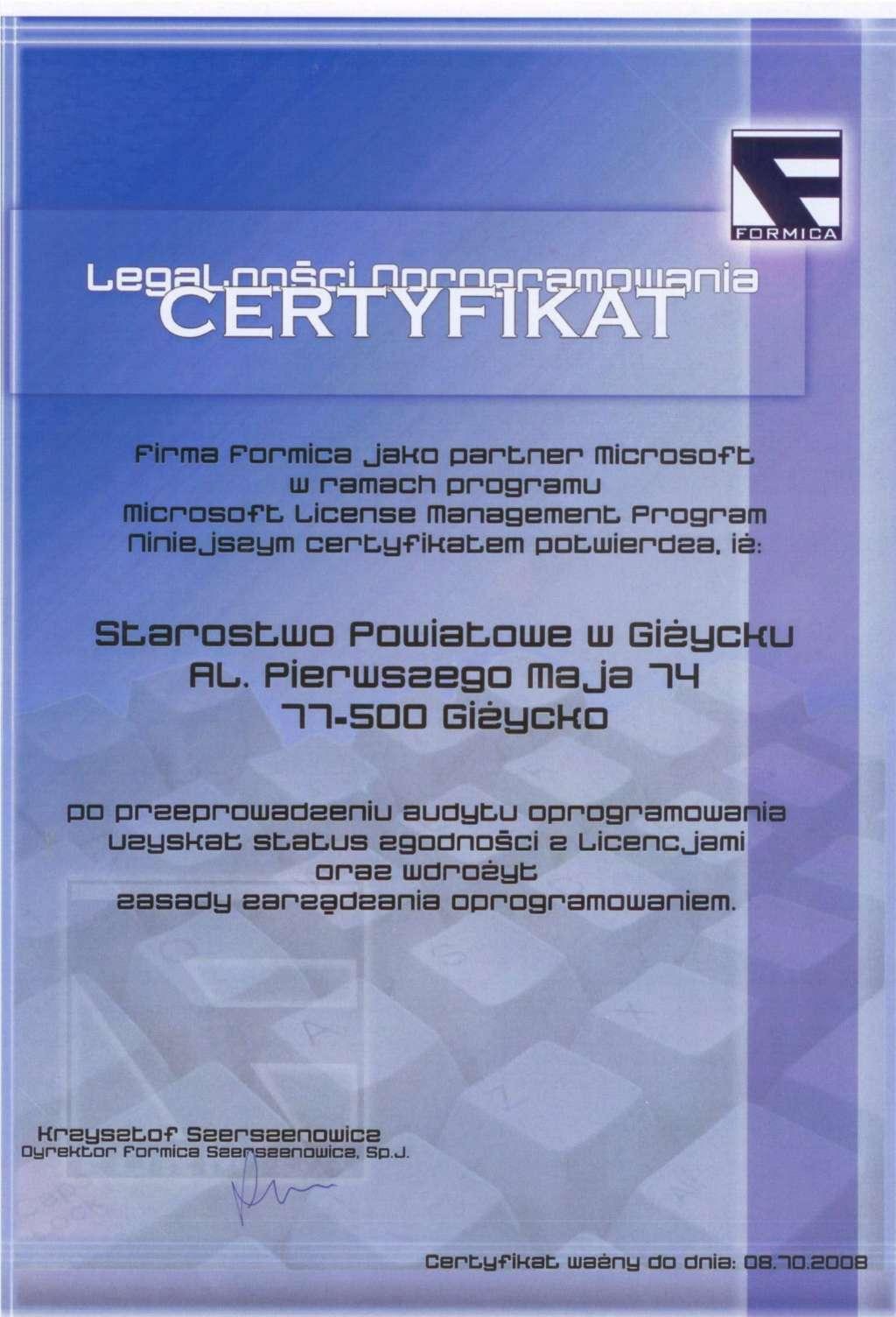 Certyfikat Formica